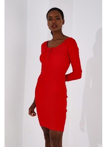 Tommy Life Kırmızı Kadın Kaşkorse Triko Dar Kesim Patlı Yaka Elbise-97116 Kırmızı
